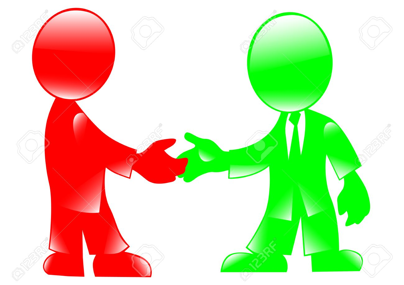 Vector drawing handshake. Colored figures of people on a white background